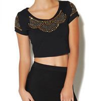 Gold Studded Crop Top | Arden B.