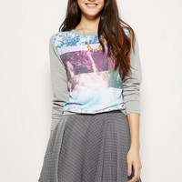 Skater Skirt in Grey & White Dot