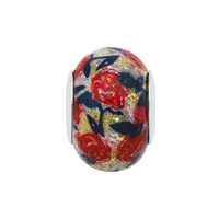 Persona® Sterling Silver Red and Yellow Glitter Glass with Floral Pattern Bead