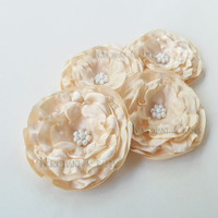 Ivory Fabric Flowers, Satin Flower Applique Embellishment - DIY Hair Accessories Headbands Hair Clips Wedding Flowers Bridal Accessory