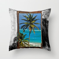 WINDOW ON PARADISE Throw Pillow by catspaws