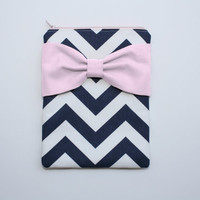iPad Case - Android - Microsoft Tablet Sleeve - Navy and White Chevron Light Pink Bow - Padded
