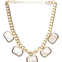 Geometric Faceted Stone Necklace | Wet Seal