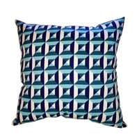 Turquoise, Blue and White Geometric Print Pillow - Stuffed