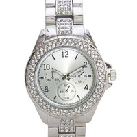 Rhinestone Silver Metal Watch | Wet Seal