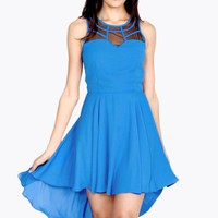 Blue Hi-Low Dress with Black Mesh Bodice Detail