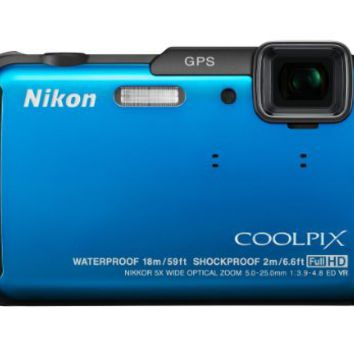 Nikon COOLPIX AW110 Wi-Fi and Waterproof Digital Camera with GPS (Blue)
