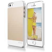 elago S5 Outfit Aluminum and Polycarbonate Dual Case for the iPhone 5/5S - eco friendly Retail Packaging (White/Champagne Gold)