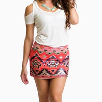 Red Tribal Sequin Print Mini Skirt