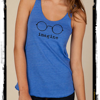 Imagine Glasses Girls Ladies Heathered Tank Top Shirt silkscreen screenprint Alternative Apparel