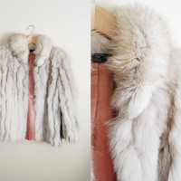 Foxy Fur - Vintage 90s White Arctic Fox Fur Fluffy Leather Coat Jacket