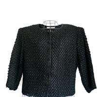 Vintage 1950s Jacket Black Formal Button Front Ribbon Lace Style Design and Texture