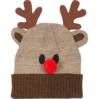 BROWN RUDOLF BEANIE HAT