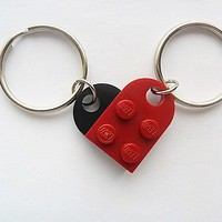 Dark Red/black LEGO friendship,girlfriend,boyfriend,friends Heart key chain set