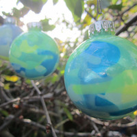 Glass Ornament, Neon Yellow, Blue, and Green Hand painted glass, glow in the dark paint, with green glow pigment, OOAK, Christmas