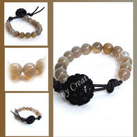 Grey Agate Gemstone Bead Bracelet with Button Fastening