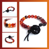 Sardonyx Gemstone Bead Bracelet with Button Fastening