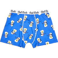 BLUE COOL DUDE SNOWMAN BOXER SHORTS