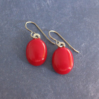 Red Earrings, Dangling Niobium Earrings, Hypoallergenic Jewelry for Metal Sensitive Ears - Blossom - 1750 -3