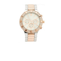 METALLIC LINK RHINESTONE WATCH