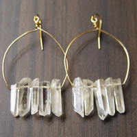 Chrystal Quartz Cluster Earrings - 14k Gold Filled
