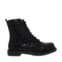 Shellys London Surba Glitter Lace Up Worker Ankle Boots