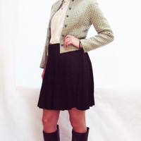 vintage 60s Checkered Cropped Blazer S / Houndstooth Check / Tailored / Wool Blazer / Preppy / Mint Green