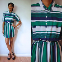 Vtg Sheer Striped Navy Green White Belted Retro Dress