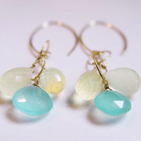 ON SALE Moonstone Cluster Earrings Gold Aqua Chalcedony