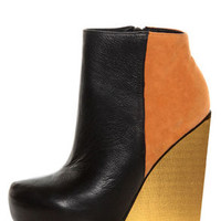 Matiko Madison Black & Orange Color Block Wedge Ankle Booties