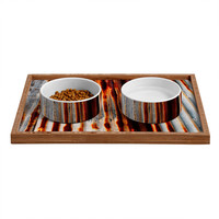 Caleb Troy Rusted Lines Pet Bowl and Tray
