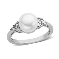 Cultured Freshwater Pearl and Diamond Accent Ring in Sterling Silver