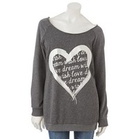 Electric Pink Fleece Heart Sweatshirt - Juniors
