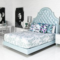 www.roomservicestore.com - Bel-Air Bed in Metallic Lagos Blue Linen