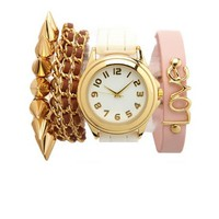 RHINESTONE RIM WATCH & BRACELETS, 4-PIECE SET