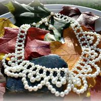 White pearl Bib Necklace, Vintage, Ready to Ship, Direct Checkout