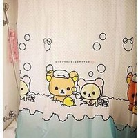 Hot!!  San-X Rilakkuma Cute Bath Shower Curtain with hooks