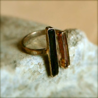 Gold Black And Pink Tourmaline Ring Sterling Silver Gold Vermeil