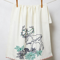 Embroidered Reindeer Dishtowel