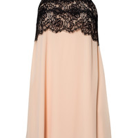 HALTER EYELASH LACE SHIFT DRESS