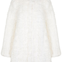 White Collarless Fur Coat - Winter Pastels - Clothing