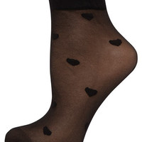 Black sheer heart socks