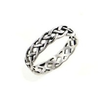 Narrow 4mm Neverending Celtic Knot Sterling Silver Pinky Ring Size 7(Sizes 3,4,5,6,7,8,9,10,11,12,13,14,15,16)