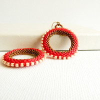Red hoop earrings. Red White bronze geometric round shapes. Seed beads jewelry. Christmas gift idea