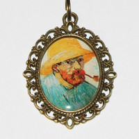 Van Gogh Smoking Pipe Pendant Necklace