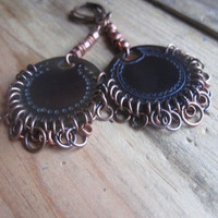 Laser Cut, Sea Shell, Disk, Earrings, Rustic, Primitive, Barbarian, Ethiopian Copper, Tribal Boho, Gypsy, Brown, Copper, Neutral Color