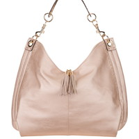 Studded Metallic Hobo Bag with Tassel