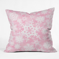 Lisa Argyropoulos Snow Flurries in Pink Outdoor Throw Pillow