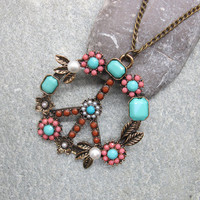 Antique Bronze Necklace, Floral Peace Sign Pendant Necklace