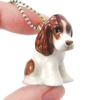 Basset Hound Puppy Dog Porcelain Ceramic Animal Pendant Necklace